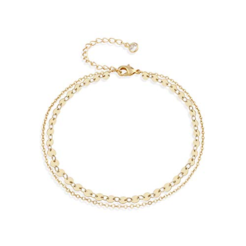 Fettero Charm Anklet Bracelets Women Girls Handmade Dainty 14K Gold Fill Boho Sexy Coin Beach Foot Jewelry Chain Adjustable Double Layer Round Wafer Minimalist