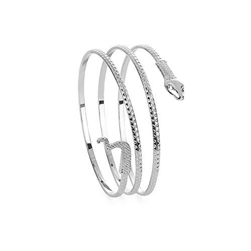 Spiral Cuff - JUESJ Punk Metal Coiled Snake Spiral Upper Arm Cuff Armlet Armband Bangle Bracelet for Women Unique Jewelry (Silver)