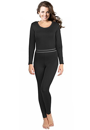 Rocky Women's 2 pc Ultra Soft Thermal Underwear, Top & Bottom Fleece Lined Long Johns Black