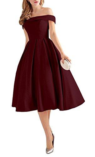 Lafee Bridal Women's Off Shoulder Prom Dresses Tea Length Cocktail Evening Gowns Burgundy Size 2