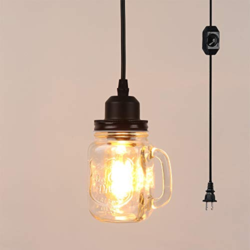 (STGLIGHTING Bottle lamp Chandelier with 15 ft Plug-in UL Listed On/Off Dimmer Switch Cord Transparent Glass Bubble Tea Shade Adornment Antique Decorative Pendant Light Bulb Not Included)