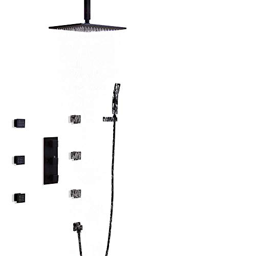 JiaYouJia Rainfall Wall Mounted Solid Brass Shower Set with Six Body Spray Jets in Solid Black Finish (12