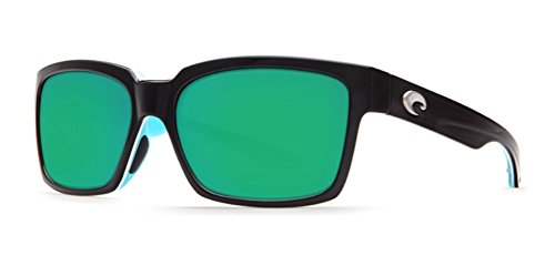 Costa Del Mar PLAYA Sunglasses Black/White/Aqua Green Mirror 580 - Playa Sunglasses Costa