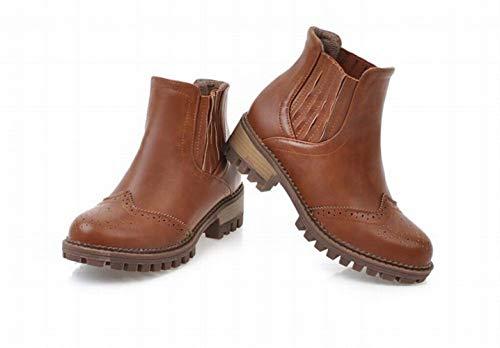 43 Tacco Bambini 36 4cm Ig Donna Stivali Scarpe Tessuto marrone Per Da Autunno Con Elastico 37 inverno x6S8qAwO76