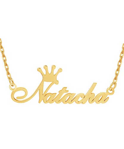 Pendant Nameplate Letter (Custom4U 18K Gold Name Necklace Personalized, Custom Necklace with Any Nameplate Pendant Jewelry Gift for Women)