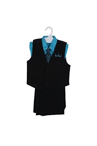 Price comparison product image Paperio Boys Vest Pinstripe Set with Stripe Long Tie,  Shirt,  Pants Teal 10