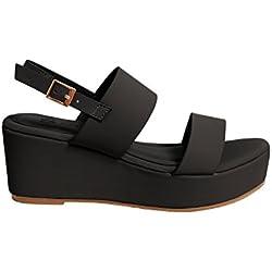 Reve Nine Women's Platform Shoe Open Peep Toe Ankle Strap Heel Sandals 5 1/2 Black