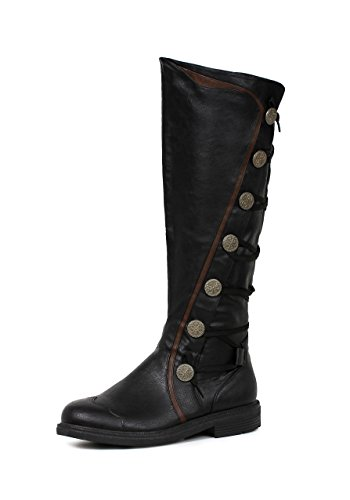Ellie Shoes Mens Fresco Black Knee High Period Boots Size Medium 10-11 ()