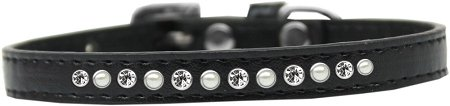 Mirage Pet Products Pearl and Clear Crystal Black Puppy Dog Collar, Size 8 by Mirage Pet Products