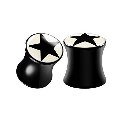 BIG GAUGES Pair of Acrylic Zero Gauge 8mm Double Flared Saddle Black Star Logo Piercing Ear Stretcher Flesh Plugs Lobe Earring BG2724