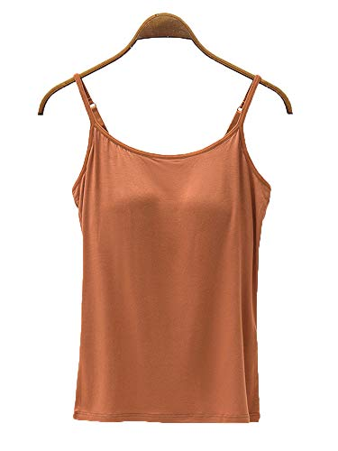 (Women's Modal Built-in Bra Tops Tees Blouses Casual Summer Sleep Lounge Tanks Camis Brown US 10-12 )
