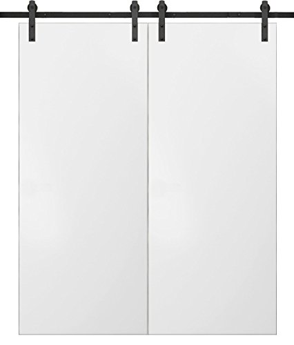 Sliding Double Barn Doors 56 x 80 | Planum 0010 White Silk | 13FT Rails Hangers Stops Hardware Set | Modern Solid Panel Interior Door