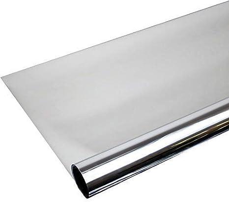 6 57 M Fenster Spiegelfolie 100 X 152cm Silber Tönungsfolie Sonnenschutz Fensterfolie Spion Folie Küche Haushalt