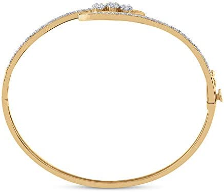 14kt Yellow Gold Womens Round Diamond Cluster Bangle Bracelet 1/2 Cttw