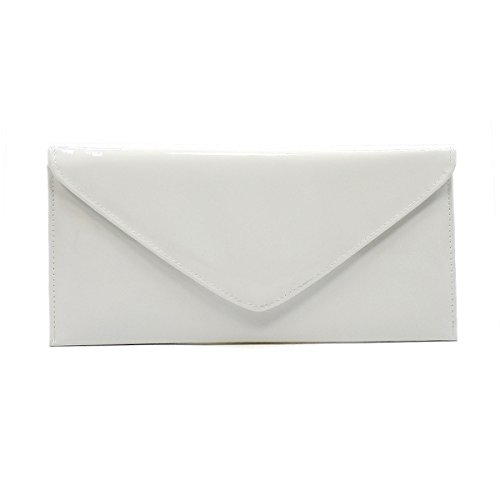 Elphis Patent Vegan Envelope Clutch Handbag Shinny PU Evening Bag (White Patent Bag)