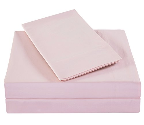 PHF Bamboo Cotton Sheet Set 300T Deep Pocket 4 Pieces Queen Size Light Pink