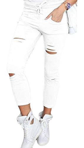 Keaac Womens High Waist Destroyed Ripped Hole Stretch Denim Pants