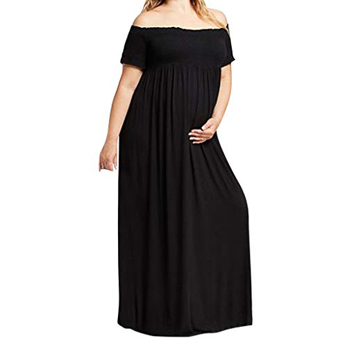(Gahrchian Womem Maternity Dresses Off Shoulder Slash Neck Dresses Short Sleeve Covered Belly Long)
