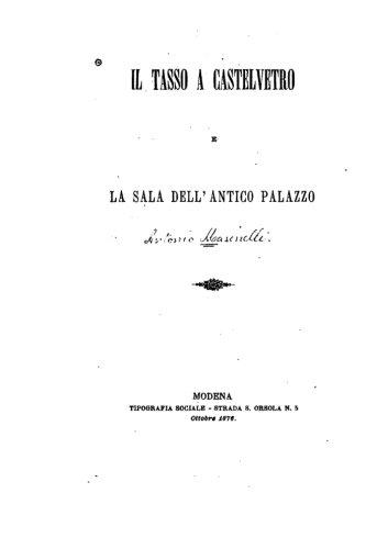 Download Il Tasso a Castelvetro e la sala dell'antico palazzo (Italian Edition) ebook