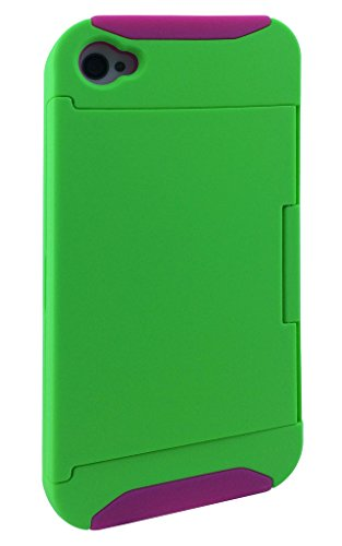 Iphone 4s Case, KYAL (TM) Dual Layer Hybrid High Impact Credit Card Holder Card Slot KickStand Case for Samsung iphone 4 / 4s - Bonus Stylus Pen + Screen Protector - Green on HotPink
