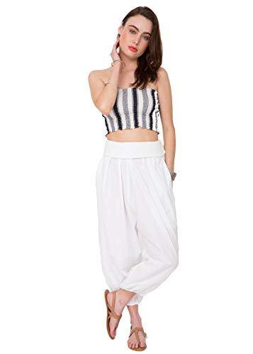 - likemary Harem Pants & Jumpsuit 2 in 1 Hareem Cotton Bandeau Romper White L