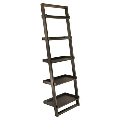 75'' Leaning Bookcase 5 Tier Shelves For Storage or Display Made od Wood in Black Color Office Furniture by GAShop