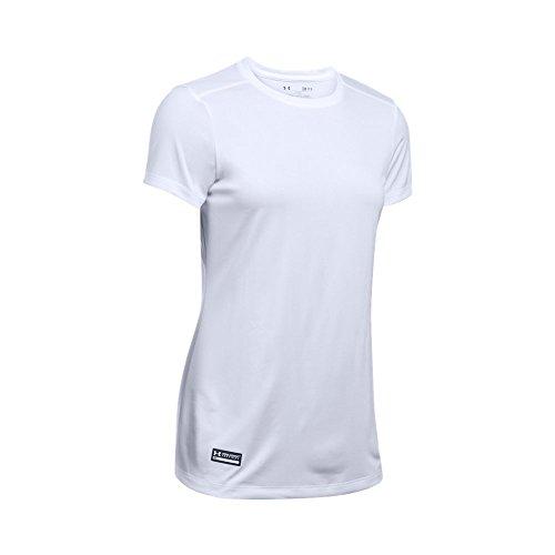 Under Armour Women's Tech Tactical Short Sleeve Shirt, White (100)/White, Medium