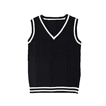 SERAPHY Unisex Knitted Gilets Sweaters Cosplay Costume Classic School Sleeveless Tank Vests Cute V-Neck School Uniform Knitwear Jumpers -Black-S