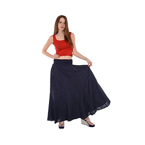 SNS Pure Cotton Long Maxi Skirt, One Size, Dark Blue