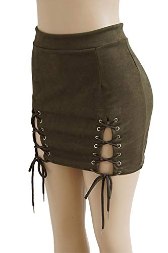Up Solide Jupes Taille Femmes Jupe Zilcremo Mini Haute Lace Moulante 3 Suede Rqw1xUAa