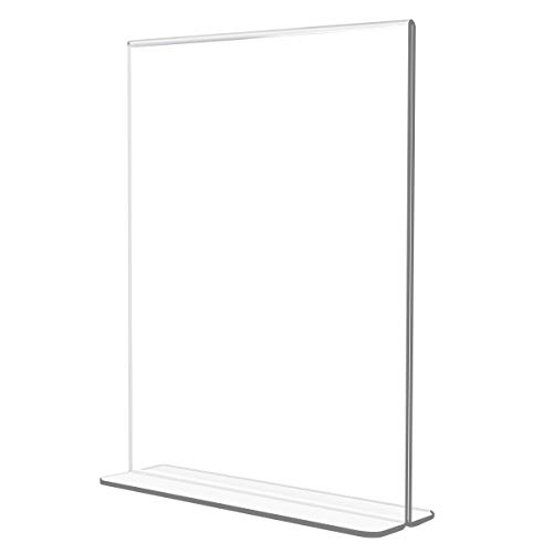 NIUBEE Acrylic Sign Holder 5 x 7 - T Shape Double Sided Table Top Display Stand,Portrait Upright Photo Frame Menu Ad Promo Display Stand(6 Pack) ()