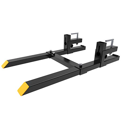 YINTATECH 43 inches Clamp on Heavy Duty Pallet Forks Adjustable Stabilizer Bar for Loader Bucket Skidsteer Tractor 1500lbs Capacity (Best Compact Tractor For Small Farm)