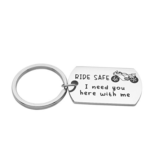 Kingmaruo Motorcycle Biker Keychain Ride Safe Keychain I Need You Here With Me Biker Husband Boyfriend Gift