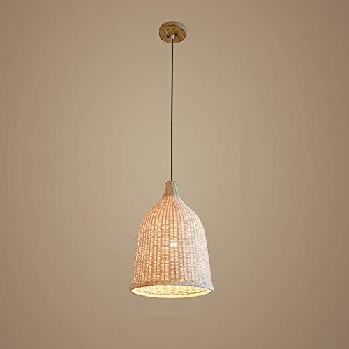 AKLKR Moderne Simple Country Craft Bamboo pendentif Lamp Country Américain Grass rougein WilFaible Plafonniers En Bois Lustre avec Bol Abat-Jour E27 Réglable Suspension