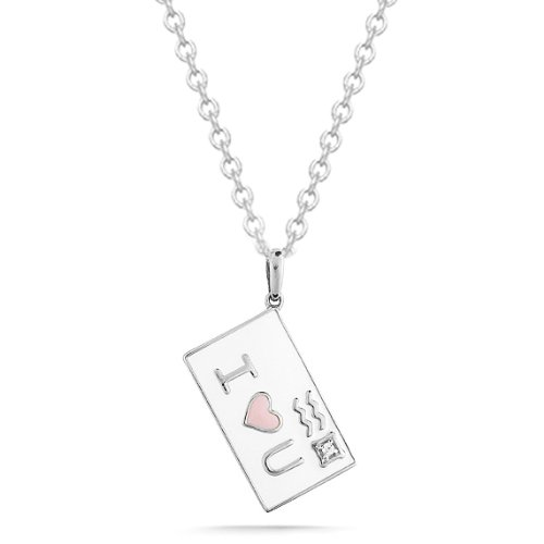 "Women's Sterling Silver Diamond ""Send Your Love"" Pink and White Enamel Envelope Pendant Necklace (0.01 cttw, I-J Color, I2 Clarity), 18″"