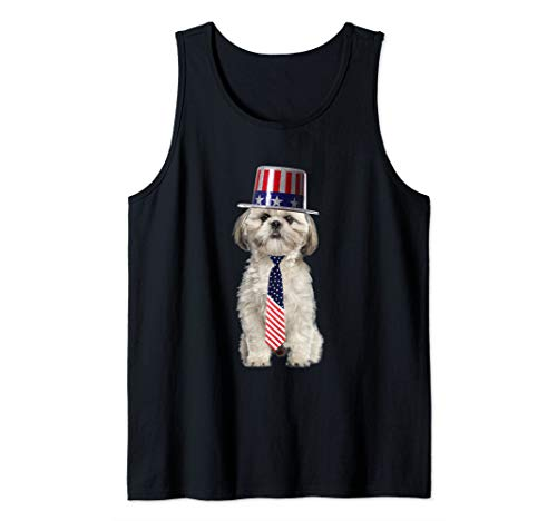 - Shih Tzu 4th Of July Dog In Top Hat and Tie Tank Top