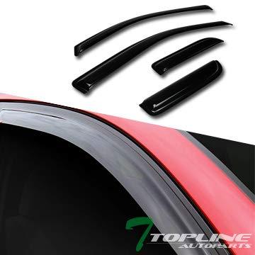 Topline Autopart Sun/Rain/Wind Smoke Tint Guard Vent Shade Deflector Window Visors 4 Pieces 04-14 Ford F150 Super/Extended Cab Topline_autopart