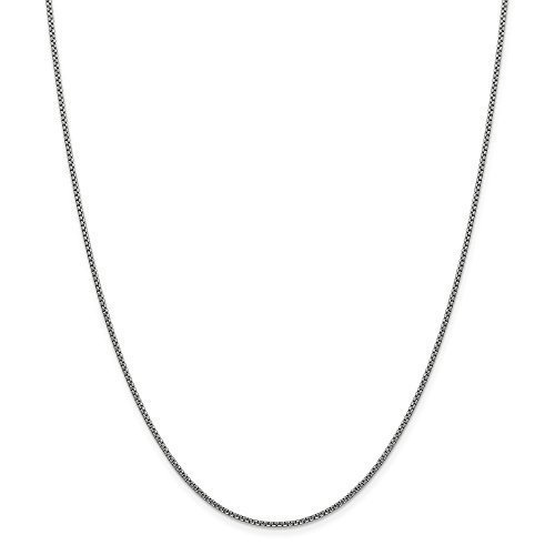 (14k White Gold 1.5mm Round Link Box Chain Necklace 24 Inch Pendant Charm Fine Jewelry Gifts For Women For Her)