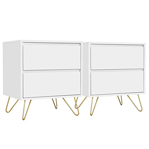 YAHEETECH 2pcs End Table with 2 Storage Drawers Iron Legs – Coffee Table Sofa Side Table Storage Cabinet for Living Room…