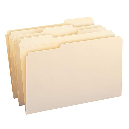 Folders W/2 Ply Tabs - Smead File Folder, Reinforced 1/3-Cut Tab, Legal Size, Manila, 100 Per Box (15334)
