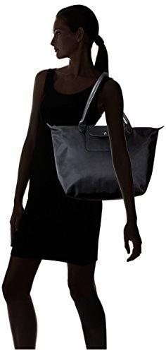 AUTH Longchamp Le pliage Neo mediana/grande bolso de la compra, color negro