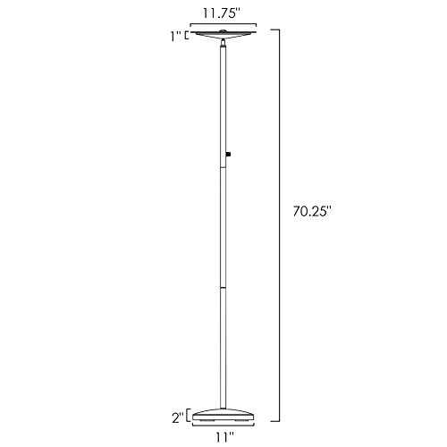 Kira Home Horizon 70'' Modern LED Torchiere Floor Lamp (36W, 300W eq.), Glass Diffuser, Dimmable, Timer and Wall Switch Compatible, Adjustable Head, 3000k Warm White Light, White Finish by Kira Home (Image #5)