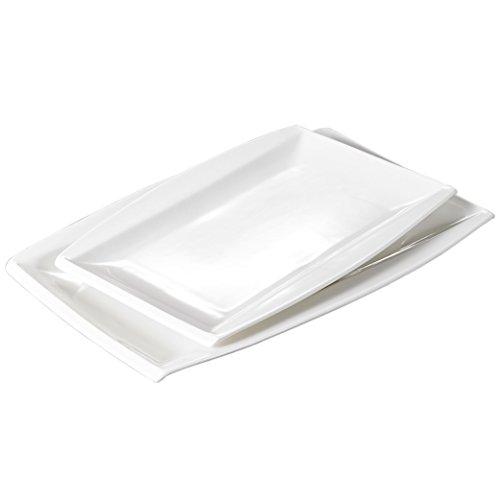 Ivory Rectangular Platter (Malacasa, Series Blance, 2-Piece Ivory White Porcelain Dinnerware Set, 11