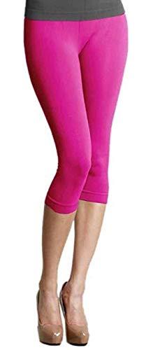Elegance Panty - elegance 1234 Ladies Quality Cotton Soft Stretch Plain 3/4 Under Knee Crop Leggings (Hot Pink, S)
