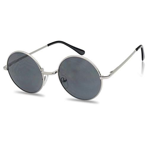 Small Round Silver Vintage John Lennon Sunglasses w/Dark Black Lens Mens and Women Hipster Punk Goth Style]()