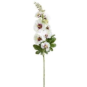 "SilksAreForever 36"" Hollyhock Silk Flower Stem -White/Boysenberry (Pack of 6) 111"