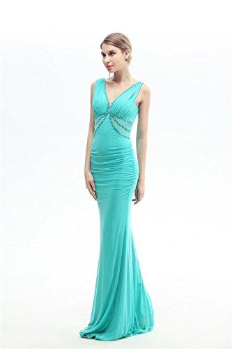 Nixe langes besetztes Kleid Emily Rüschen V mit Abend Grün tiefes Spitzen rückenfrei Arm Ohne Beauty 5xYRwSqY