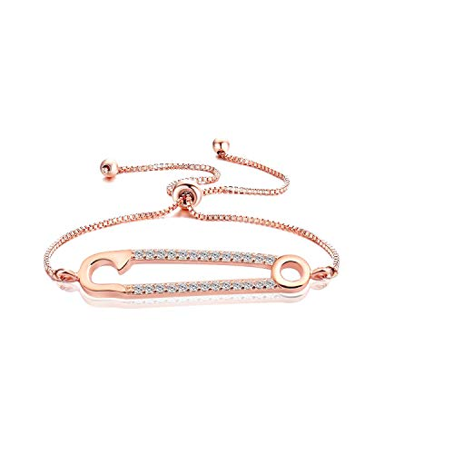 WUSUANED Rose Gold Safety Pin Charm Adjustable Chain Bracelet Zirconia Jewelry for Women Girl (Rose Gold Safety pin Chain Bracelet) ()