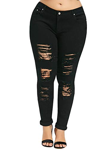 Boyfriend Trousers - YONYWA Plus Size Womens Jeans Skinny High Waisted Ripped Distressed Stretch Pants Boyfriend Trousers Black