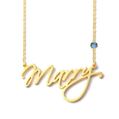 WENSDIA Personalized Names Custom Name Necklace Pendant,18K Gold Plated Nameplate Personalized Jewelry Name Chain Gift for Women (Style 2 20